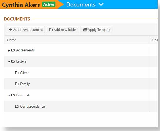 example client document folder
